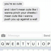 Cute, Memes, and Mean: you're so cute  and i don't mean cute like i  wanna pinch your cheeks i  mean cute like i wanna  push you up against a wall  iMessage  Send Just know dat Bay'bee! 👐😏😂