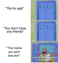 """No one can insult me like that: """"You're ugly""""  """"You don't have  any friends""""  """"The meme  you sent  was shit""""  YOU BETTER WATCH  YOUR MOUTH No one can insult me like that"""
