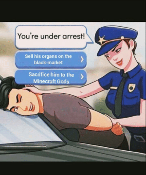 Choose carefully: You're under arrest!  Sell his organs on the  black-market  Sacrifice him to the  Minecraft Gods Choose carefully