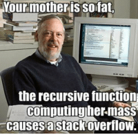 Love, Sid, and Engineering: Yourmother is Sofat,  the recursive function  computing her mass  causes stack overflow. All you need is love! We also have shirts too :)  https://teespring.com/engineers-need-love#pid=2&cid=2122&sid=front
