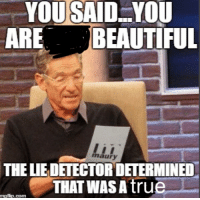 Beautiful, Maury, and Com: YOUSAID..YOU  ARE BEAUTIFUL  maury  THE LIEDETECTOR DETERMINED  THAT WASAtrue  mgflip.com