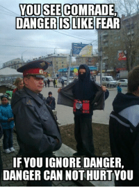 """Internet, Meme, and Http: YOUSEE  DANGER IS LIKE  COMRADE  FEAR  IFYOU IGNORE DANGER,  DANGER CAN NOT HURTYOU <p>Made this meme two months ago but never shared it on the Internet. Buy it now! via /r/MemeEconomy <a href=""""http://ift.tt/2otwDuT"""">http://ift.tt/2otwDuT</a></p>"""