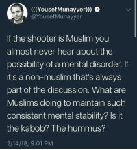 "Muslim, Tumblr, and Blog: (((YousefMunayyer)))  @YousefMunayyer  If the shooter is Muslim you  almost never hear about the  possibility of a mental disorder. If  it's a non-muslim that's always  part of the discussion. What are  Muslims doing to maintain such  consistent mental stability? Isit  the kabob? The hummus?  2/14/18, 9:01 PM <p><a href=""http://memehumor.net/post/171018340021/kabobs-and-hummus-are-bomb-as-fuck-so-im-going"" class=""tumblr_blog"">memehumor</a>:</p>  <blockquote><p>Kabobs and hummus are bomb as fuck, so I'm going with that.</p></blockquote>"
