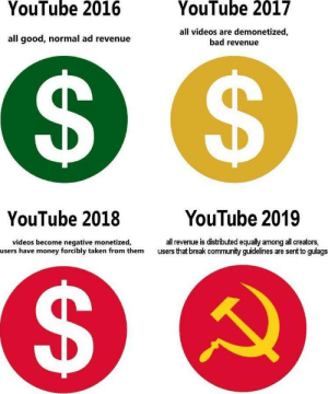 Bad, Community, and Dank: YouTube 2016  YouTube 2017  all good, normal ad revenue  all videos are demonetized,  bad revenue  YouTube 2018  YouTube 2019  videos become negative monetized,  users have money forcibly taken from them  all revenue is distibuted equally among all creators,  users that break community guidelines are sent to gulags It is our meme now comrades! by spork117 MORE MEMES