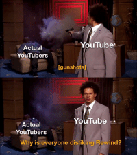 youtube.com, Why, and Everyone: YouTube  Actual  YouTubers  Igunshots]  YouTube  Actual  YouTubers  Why is everyone disliking Rewind? 👏👏YEAR 👏REVIEW👏