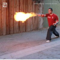 Dank, youtube.com, and 🤖: YouTube /Allen Pan-Sufficiently Advanced  Tl Become a firebender with these punch-activated flamethrowers.  via Thrillist