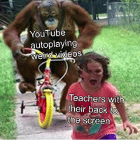Videos, youtube.com, and Back: YouTube  autoplaying  Weind videos  Teachers with  their back to  the screen it is unstoppable