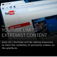 Google, Internet, and Memes: YouTube  C  You  To Watch  US NEWS  YOUTUBE LIMITS  EXTREMIST CONTENT  June 20 l YouTube will be taking measures  to limit the visibility of extremist videos on  the platform YouTube's parent company, Google, has announced it will be setting new policies that limit the visibility and traction of extremist videos posted on the platform. Due to the internet's recent role in inspiring attacks of violence and hate, YouTube will devote more resources into the identification of content that promotes extremist agendas. Actions will include disabling the ability to comment, endorse or share a video by the platform's users.