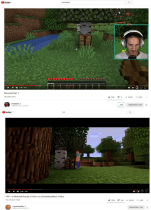 """Gasp, it's Canon!!: YouTube CA  pewdiepie  4:39/20:42  Minecraft Part 1  464,982 views  41K  165K  ESAVE  SHARE  PewDiePie  JOIN  SUBSCRIBED 96M  Published on 21 Jun 2019  YouTube CA  tnt  D0:48/4:36  """"TNT"""" A Minecraft Parody of Taio Cruz's Dynamite (Music Video)  104,141,373 vlews  SAVE  904K  30K  SHARE  CaptainSparklez  SUBSCRIBED 10M  Publishod on 26 Feb 2011 Gasp, it's Canon!!"""