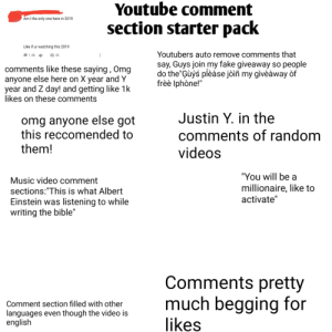 Youtube Comment Section Starter Pack Am I the Only One Here