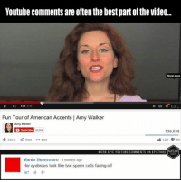 youtube comments: Youtube comments are oftenthe best partofthe video...  Fun Tour of American Accents I Amy Walker  Amy Walker  739,538  Share More  EPKTUBE  MORE EPIC YOUTUBE COMMENTS ONEPICTUBE  Martin Buenrostro 4 months ago  Her eyebrows look like two sperm cells facing off  167