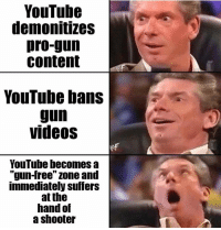 Memes, Videos, and youtube.com: YouTube  demonitizes  pro-gun  content  YouTube bans  gun  videos  YouTube hecomes a  gun-Iree zone and  immediately suffers  at the  hand of  a shooter  V0 (GC)