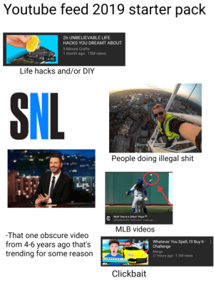 "Life, Mlb, and Shit: Youtube feed 2019 starter pack  26 UNBELIEVABLE LIFE  HACKS YOU DREAMT ABOUT  5-Minute Crafts  1 month ago 15M views  14:46  Life hacks and/or DIY  SNL  People doing illegal shit  8:3  MLB ""One in a Zillion"" Plays HD  DM  DMHIGHLIGHTS 527K views 3 days ago  MLB videos  -That one obscure video  Whatever You Spell, I'll Buy It  Challenge  from 4-6 years ago that's  trending for some reason  -  $500,000  Morgz  21 hours ago 1.3M views  LAM BOR G HINI  23:01  Clickbait Youtube feed in 2019 starterpack"