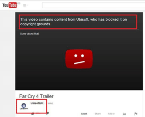 Sorry, Target, and Tumblr: YouTube  GB  This video contains content from Ubisoft, who has blocked it on  copyright grounds.  Sorry about that.  Far Cry 4 Trailer  UbisoftUK video  UBISOFT  About Share Add to  זיון himatzufutureedition:  silverlightpony:  A prefect example of why YouTube's Content ID system is terrible.  Trust no one not even yourself