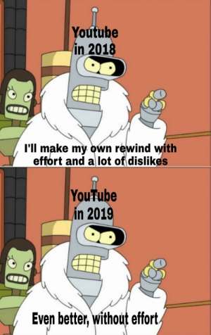 Waiting 2020: Youtube  in 2018  l'll make my own rewind with  effort and a lot of dislikes  YouTube  in 2019  Even better, without effort. Waiting 2020