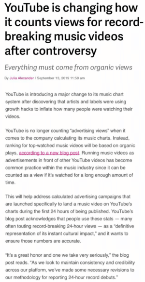 YouTube Is Changing How It Counts Views for Record ...
