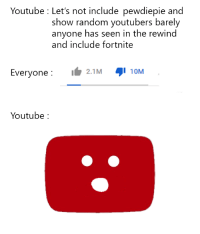 Memes, youtube.com, and Hope: Youtube : Let's not include pewdiepie and  show random youtubers barelyy  anyone has seen in the rewind  and include fortnite  Everyone :  ๑' 10M  2.1 M  Youtube: I hope this format is still relevant via /r/memes https://ift.tt/2EgHpeW