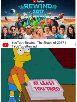 Despacito as the opening song!: YouTube  MAEWIND  2017 of  7:15  YouTube Rewind: The Shape of 2017  Ο #YouTubeRewind  AT LEAST  1OU TRIED Despacito as the opening song!