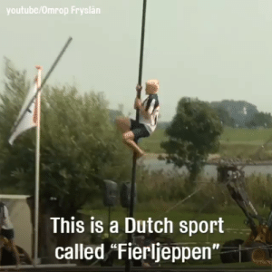 "I didn't know Luke was practicing a Dutch sport!!!: youtube/Omrop Fryslän  This is a Dutch sport  called ""Fierljeppen"" I didn't know Luke was practicing a Dutch sport!!!"
