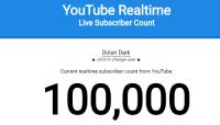 Thanks for 100k Youtube Subscribers btw!: YouTube Realtime  Live Subscriber Count  Dolan Dark  A click to change user A  Current realtime subscriber count from YouTube:  100,000 Thanks for 100k Youtube Subscribers btw!