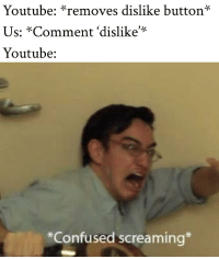 Confused, youtube.com, and MeIRL: Youtube: *removes dislike button*  Us: *Comment 'dislike'*  Youtube:  *Confused screaming* meirl