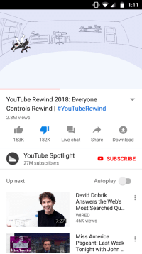 America, Crush, and youtube.com: YouTube Rewind 2018: Everyone  Controls Rewind | #YouTubeRewind  2.8M views  153K  182K Live chat Share Download  YouTube Spotlight  27M subscribers  SUBSCRIBE  Up next  Autoplay  David Dobrik  Answers the Web's  Most Searched Qu...  WIRED  46K views  d dobrik  crush  7:27  dobri  ik's celebrhy cr  is rd  when iobrik  Miss America  Pageant: Last Week  Tonight with John  Miss America