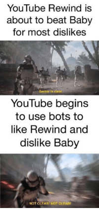 FALL BACK: YouTube Rewind is  about to beat Baby  for most dislikes  Sector is clear  YouTube begins  to use bots to  like Rewind and  dislike Baby  NOT CLEARI NOT CLEAR FALL BACK
