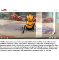 Bee Movie, Lightsaber, and Memes: YouTube  Search  74637485 2305 93748374643 46:03  The Bee Movie but every vowel is replaced with The Passion of The Christ but every time  someone is whipped it plays The Star Wars Heptalogy but everytime someone pulls out a  lightsaber it plays We Are Number One but every time it says One its replaced with The Bible  but every time they mention Jesus it plays a reading of Mein Kampf but every 3rd sentence is  replaced with The Sharknado Trilogy but every frame that contains a shark is replaced with  Schindler's List but every time a Jew takes a step it plays every video on YouTube what am i doing what am i doing