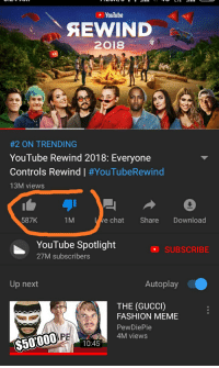 Fashion Meme: YouTube  SEWIND  2018  #2 ON TRENDING  YouTube Rewind 2018: Everyone  Controls Rewind | #YouTubeRewind  13M views  587K  1M  e chat Share Download  YouTube Spotlight  27M subscribers  O SUBSCRIBE  Up next  Autoplay  THE (GUCCI)  FASHION MEME  PewDiePie  4M views  $50000  10:45