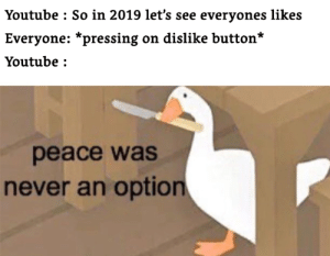 Dislike is an always option: Youtube : So in 2019 let's see everyones likes  Everyone: *pressing on dislike button*  Youtube :  peace was  never an option Dislike is an always option