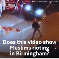 No, this viral video doesn't show Muslims attacking cars in Britain.  They're football hooligans in Switzerland.: YOUTUBE/SPRAVCE HOOLIGANS  L News  Does this video show  Muslims rioting  in Birmingham? No, this viral video doesn't show Muslims attacking cars in Britain.  They're football hooligans in Switzerland.