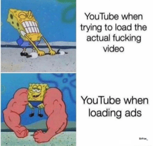 Fucking, youtube.com, and Video: YouTube when  trying to load the  actual fucking  video  YouTube when  loading ads  SirFox_ Me_irl