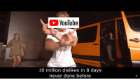 "youtube.com, Never, and You: YouTube  You Gotta Want It""  10 million dislikes in 8 days  never done before"