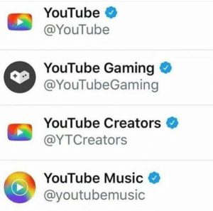 Music, youtube.com, and Irl: YouTube  @YouTube  YouTube Gaming  @YouTubeGaming  YouTube Creators  @YTCreators  YouTube Music  @youtubemusic me irl