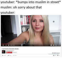 good morning yall: youtuber: bumps into muslim in street*  muslim: oh sorry about that  youtuber:  4) 0:52 8:08  i survived a terrorist attack.  Fucking Normal  ca  Talks  Subscribe 65.000.000  69,420 views  A to A Share More  420 69 good morning yall