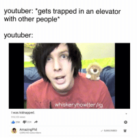 I want the finebros to do a youtubers react to these memes: youtuber: gets trapped in an elevator  with other people*  youtuber:  whiskeryhowlterlig  I was kidnapped  916,123 views  I 29K  224  Amazing Phil  SUBSCRIBED  A  3,889,930 subscribers I want the finebros to do a youtubers react to these memes