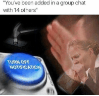 "Group Chat, Memes, and Chat: ""You've been added in a group chat  with 14 others""  TURN OFF  NOTIFICATION"