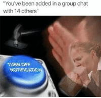 "Group Chat, Chat, and Been: ""You've been added in a group chat  with 14 others""  TURN OFF  NOTIFICATIO"