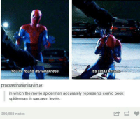 Books, Memes, and Movies: You've found my weakness.  It's  small knives  rocrastinationisavirtue  in which the movie spiderman accurately represents comic book  spiderman in sarcasm levels.  380,883 notes