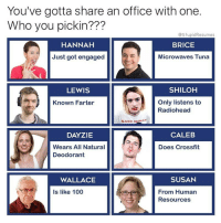 """Anaconda, Tumblr, and Blog: You've gotta share an office with one.  Who you pickin???  @StupidResumes  HANNAH  BRICE  Just got engaged  Microwaves Tuna  LEWIS  SHILOH  Only listens to  Radiohead  Known Farter  GARY NUMAN  DAYZIE  CALEB  Does Crossfit  Wears All Natural  Deodorant  WALLACE  SUSAN  From Human  Resources  Is like 100 <p><a href=""""http://memehumor.net/post/164563814363/kill-brice"""" class=""""tumblr_blog"""">memehumor</a>:</p>  <blockquote><p>Kill Brice</p></blockquote>"""