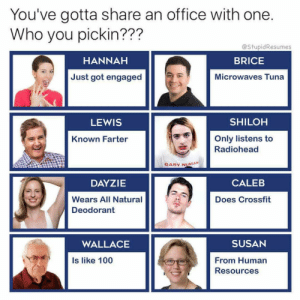 Anaconda, Crossfit, and Office: You've gotta share an office with one.  Who you pickin???  @StupidResumes  HANNAH  BRICE  Just got engaged  Microwaves Tuna  LEWIS  SHILOH  Only listens to  Radiohead  Known Farter  GARY NUMAN  DAYZIE  CALEB  Wears All Natural  Deodorant  Does Crossfit  WALLACE  SUSAN  From Human  Resources  Is like 100 (@stupidresumes)