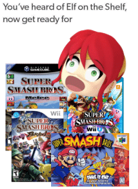 Elf on the shelf: You've heard of Elf on the Shelf,  now get ready for  GAMECUBE  SUPER  SMASH BReS  SUPER  SMASHBRES  Wii  SUPER  SMASH BS  as your favorite  Nintendo characters