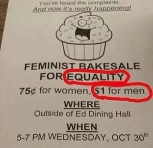 Wednesday, Women, and Feminist: You've hoard the complaints..  And nowit's really happeninal  FEMINIST BAKESALE  FOR EQUALITY  75¢ for women, ($1 for men  WHERE  Outside of Ed Dining Hall  WHEN  5-7 PM WEDNESDAY, OCT 30h Well, theres your problem