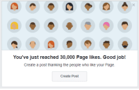good job: You've just reached 30,000 Page likes. Good job!  Create a post thanking the people who like your Page  Create Post good job