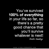You've survived 100% of everything in your life so far, so there's a pretty good chance that you'll survive whatever is next. - Timber Hawkeye - www.LiveLifeHappy.com: You've survived  100% of everything  in your life so far, so  there's a pretty  good chance that  you'll survive  whatever is next!  w w w. VEL  H A P P Y COM  LIFE You've survived 100% of everything in your life so far, so there's a pretty good chance that you'll survive whatever is next. - Timber Hawkeye - www.LiveLifeHappy.com