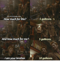 harrypotter Q: Who's your favorite Weasley?☺️❤️ = For more of my posts follow @mypotterquotes @mypotterfacts & @bookgasms 💕: YPOTTERSCENES  How much for this?  5 galleons. n  And how much for me?  5 galleons.  l am your brother.  10 galleons. harrypotter Q: Who's your favorite Weasley?☺️❤️ = For more of my posts follow @mypotterquotes @mypotterfacts & @bookgasms 💕