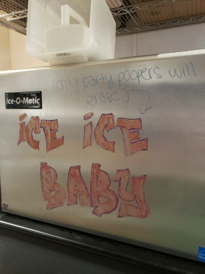 Home, Air, and Ice: YROCKOL LON O  TOP  WARNIING  AIR DISCHARCE ON TOP OF MACHINE MST REMr N CEEAR OR  SUFFER AND DANAGE MAY  PUIILD  OCCUR  A GLACE  partu  au pady pders will  erefe  Ice-O-Matic  BABK  AgioN  inside  LDOCTERIA AN  ENERG We wanted to make our new ice bin feel at home