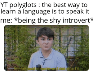 It really do be like that: YT polyglots : the best way to  learn á language is to speak it  me: *being the shy introvert*  but thats social interaction and I dont support it It really do be like that