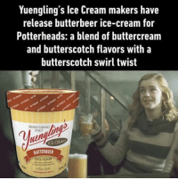 It's 100% alcohol-free. Follow @9gag 9gag hogwarts harrypotter butterbeer: Yuengling's lce Cream makers have  release butterbeer ice-cream for  Potterheads: a blend of buttercream  and butterscotch flavors with a  butterscotch swirl twist  BUTTERBEER It's 100% alcohol-free. Follow @9gag 9gag hogwarts harrypotter butterbeer