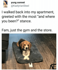 """Fam, Gym, and Back: yung sonnet  @KaelyrianSteel  I walked back into my apartment,  greeted with the most """"and where  you been?"""" stance.  Fam, just the gym and the store."""